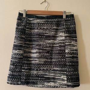 H & M skirt tweed and faux leather black